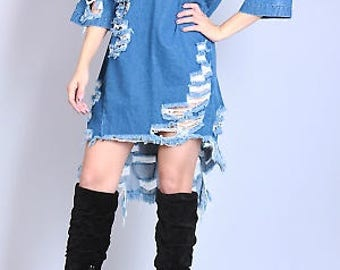 Energetic Distressed Denim Dress