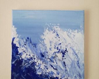 Ocean Spray   Acrylic Painting on Canvas   Abstract Ocean   Seascape   Original Art