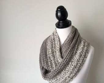 Ready to ship - Handmade Crochet Wool Infinity Circular Scarf Cowl
