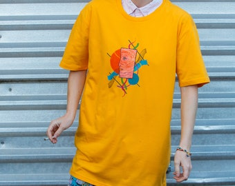 Abstract Face Hand-Painted Tee