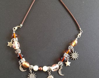 Necklace (or strap) celestial amber and silver