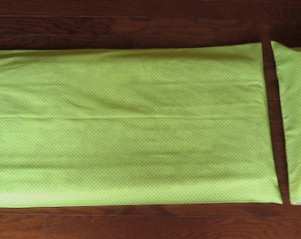 Lime and White Polka Dots Nap Mat Cover and Pillow Cover