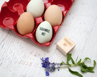 Egg Stamp - Chickens - Wooden Egg Stamp - Fresh Eggs Stamp - Farm Fresh Eggs - Chicken Coop - Homestead Stamp - Rubber Stamp - Scramble Me