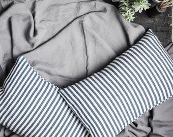Striped linen pillowcase blue/off-white, softened linen pillow cover, natural linen bedding, linen pillow, natural stonewashed linen bedding