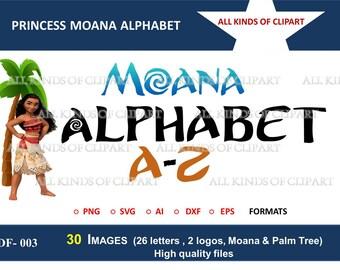 30 DISNEY PRINCESS MOANA Alphabet & Images