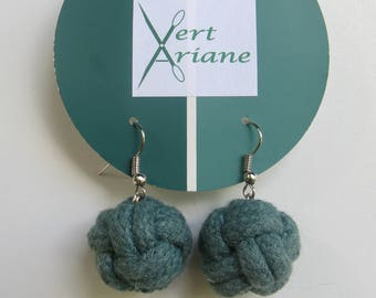 Earring, macrame knot cotton rope, hand dyed