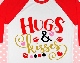 Valentines day svg - Hugs and kisses - Valentine's day shirt - Heart svg - Love svg - svg valentine - printable -girls svg dxf-pdf-png-eps