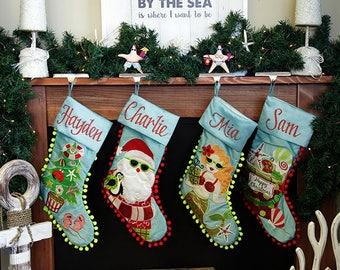 Personalised Beach Pom Pom Christmas Stockings