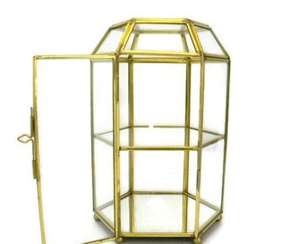 Gold Metal and Glass Footed Display Case, Curio, Terrarium, Keepsake Box with Latch and Mirrored Bottom
