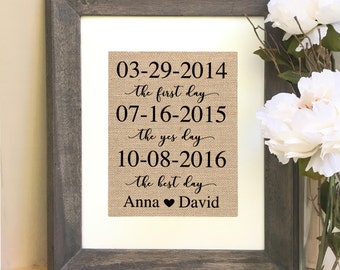 ON SALE Personalized  for Husband for Wife Wedding Anniversary Gift For Husband The First Day The Yes Day The Best Day