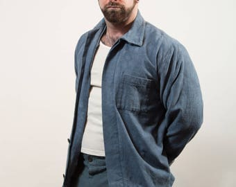 Vintage Prison Suit / Mens 3-piece Halloween Costume - 1800's Prisoner Outfit - Blue Pants and Jacket with White Tank Top - Paint Coveralls