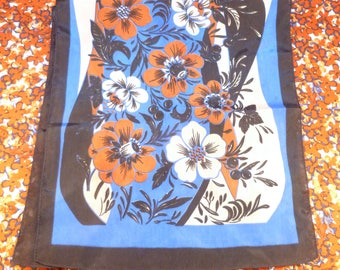 Long vintage floral scarf - black, blue, beige, burnt orange
