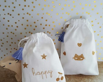 """Pouches, Duo of small bags white Poplin, """"Happy"""" and cat mask!"""
