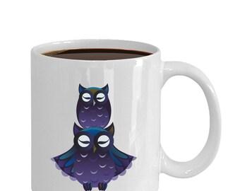 Purple Owls Art coffee and tea mug ceramic 11oz or 15oz