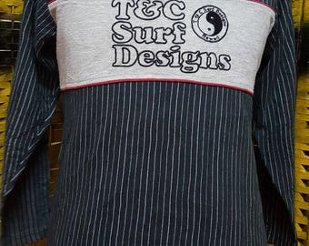 Vintage Town and Country surf designs/ big logo spell out / stripes striped / skate indie punk rock hip hop style sweatshirt (AK 39)