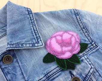 Pink peony brooch Flower brooch Bead embroidered brooch Beaded brooch Floral embroidery Floral brooch