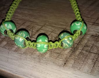 Handcrafted Hemp Anklet with Clay Beads.