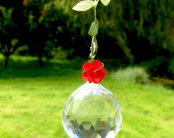 Hanging Crystal Suncatcher- Rose Trail Red