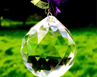 Hanging Crystal Suncatcher- Rose Trail Purple