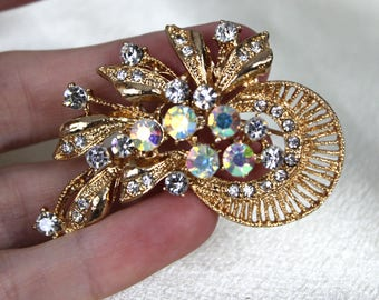 Pretty Vintage 1960s Clear and AB Rhinestone Brooch Gold Tone Costume JEwelry