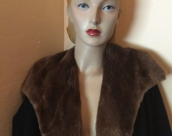vintage 1950s black full length wool coat mocha brown faux fur lining pin up bombshell
