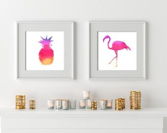 Flamingo Watercolour printable, pineapple decor, pink flamingo printables, hippie home decor, printable art, hipster home decor, boho art