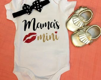 Mama's Mini Onesie - Baby Girl Onesie - Glitter Onesie