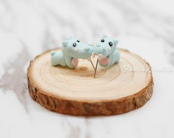 Cute Earrings, Miniature Hippo Clay earrings, Handmade polymer clay earrings, Clay animal stud jewelry, Accessories, Gift idea Animal Lovers