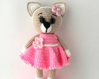 Crochet kitty in pink dress with flower Cute kitty Knitted kitty Crochet toys Crochet cat Amigurumi animals Baby gift free shipping