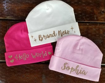 Set of 3 - Personalized BABY BEANIE 100% Cotton - Personalized infant hat/baby girl beanie