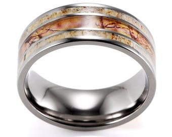 Titanium Deer Antler Men's Wedding Band