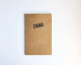 HUSTLE Notebook - Embossed Kraft Paper A5 Lined Travel Notebook