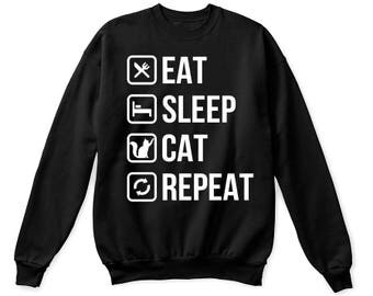 Eat Sleep Cat Repeat- Funny Cat shirt, funny cat tshirt, funny cat shirts, funny cat t-shirt, cat mom shirt, cat lover gifts, cat mom gift