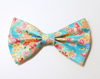 Turquoise Blossom (Floral) Bow Tie for Dogs