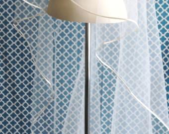 Cascade Cut Ribbon Edge - Wedding Veil - Ribbon Plain Wedding Veil, Simple Wedding Veil