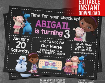 Doc McStuffins Invitation Instant Download, Doc McStuffins Birthday Invitation, Doc McStuffins Invites, Thank You Tag, Editable PDF Template