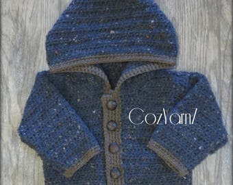 Baby Sweater with button front,  blue and brown sweater, baby HOODIE, toddler SWEATER, sweater with hood, toddler (9-12 month), crochet