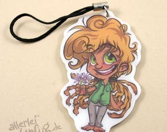 Keychain Josh - shrink film, resin, resin, glaze, on both sides, flowers, hippie, Shrinky DINKs, trailer