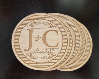 Wooden Monogrammed Coasters, Wedding Coasters, Anniversary gift.  Set of 6
