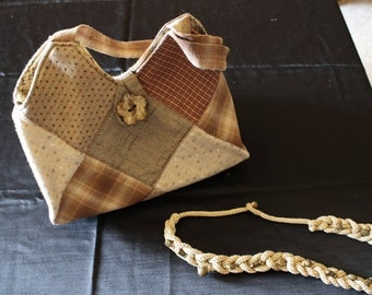 Patchwork handbag with 2 handles + matched necklace