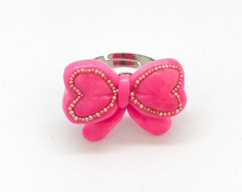 Kawaii cute pink bow ring with silver and pink micro beads - handmade polymer clay jewelry - fairy kei sweet lolita accessories jewelry -