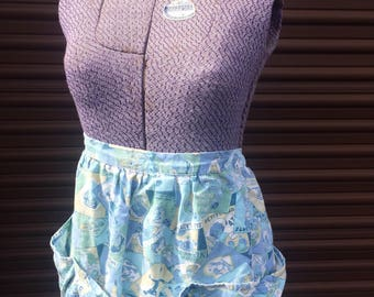 Blue Vintage Apron with pockets
