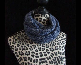 Hand Knitted Infinity Scarf- Blue Fizz