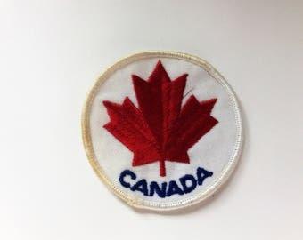 On Sale Canada Maple Leaf Round Vintage Patch-  Sew On- Unused
