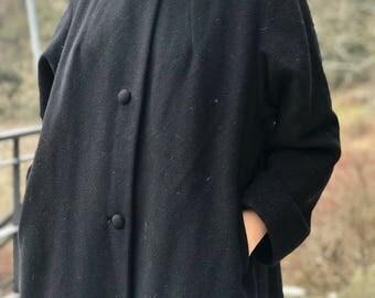100% premium cashmere black coat with genuine fur collar