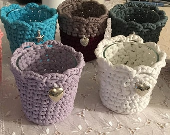 Crocheted basket-for candles with glass
