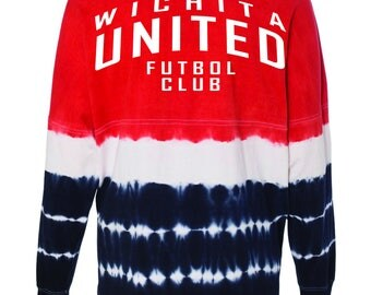 Wichita United Football Club Oversized Red and Navy Tie Dye J. America - Game Day Jersey Long Sleeve T-Shirt