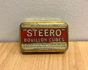 Vintage Tin Advertising Tin Steero Bouillon Cubes