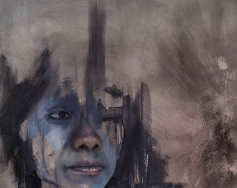 Study of face in blue