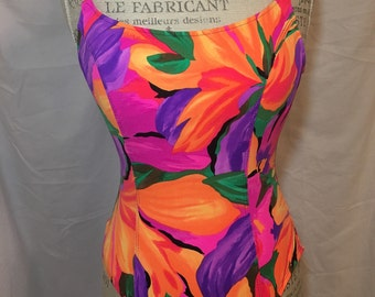 90s neon flower print sessa women's vintage retro swimsuit bathing suit swimwear